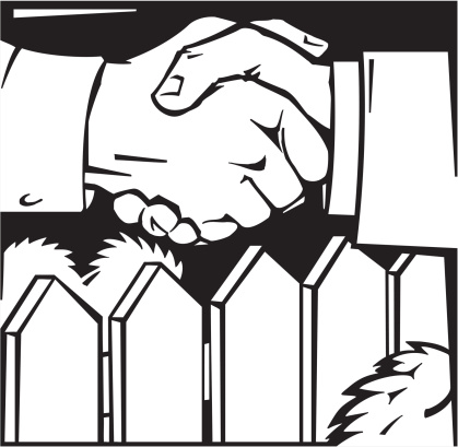 drawing of shaking hands over fence