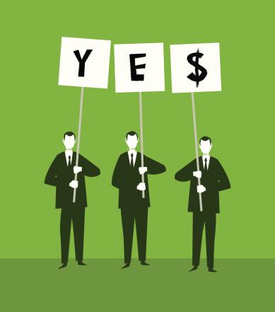 3 men holding yes sign illustration
