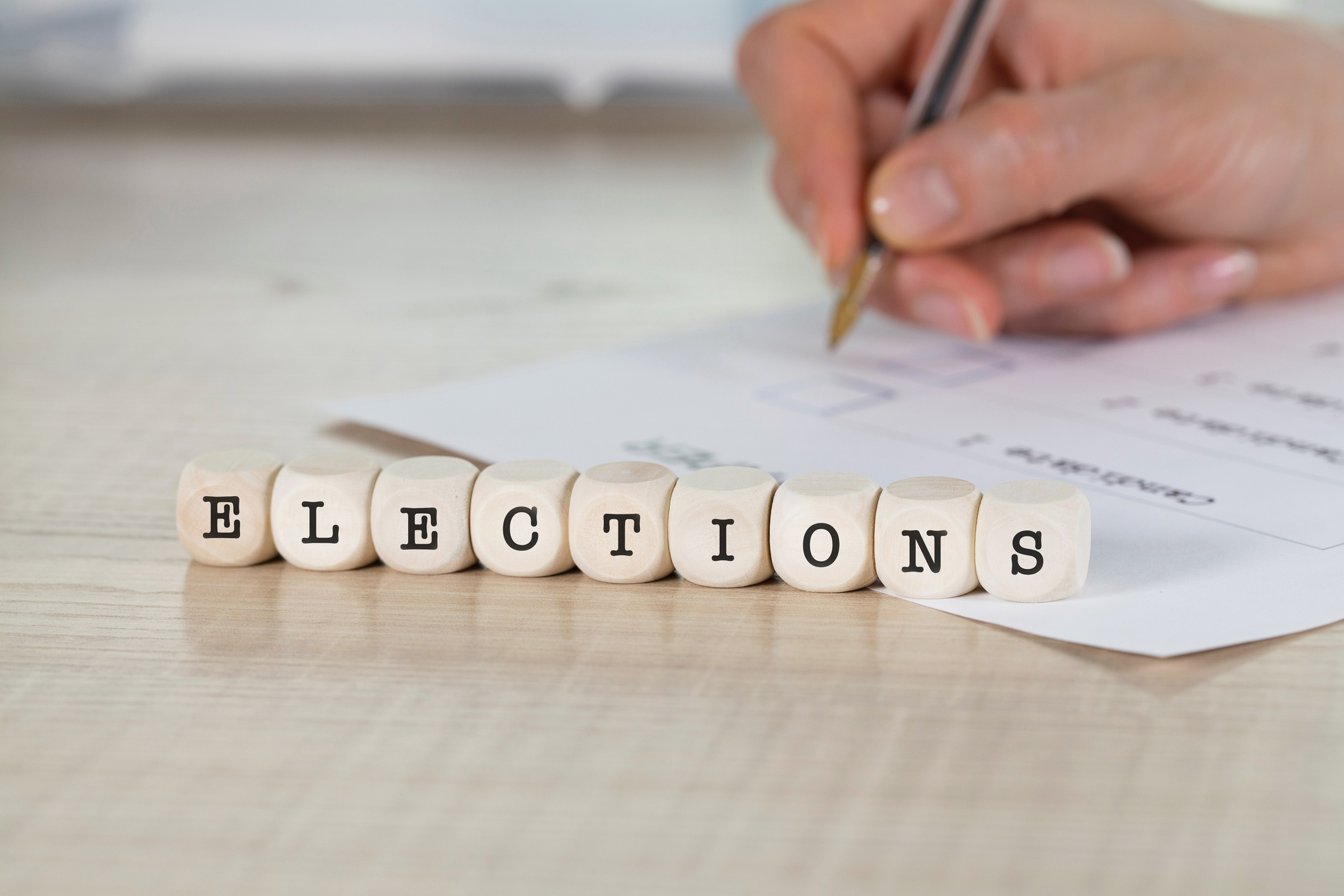 word elections on wooden letters